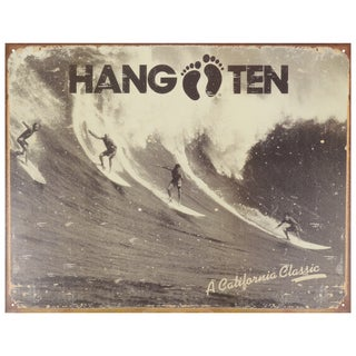 Vintage Metal Art 'Hang Ten California Classic' Decorative Tin Sign
