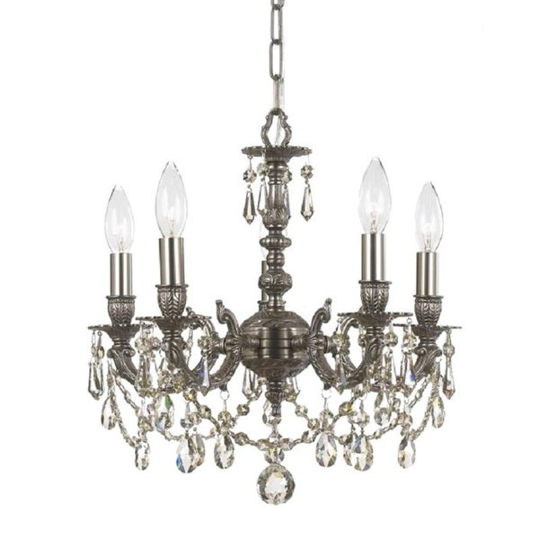 Traditional Mirabella 5-light Pewter Mini Chandelier