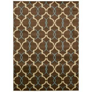 Hand-knotted Nourison Nova Brown Rug (7'10 x 10'6)