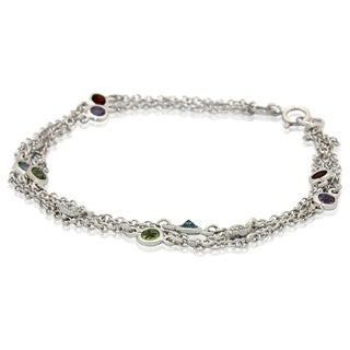 Sterling Silver Gemstone Diamond Accent Multi-chain Bracelet