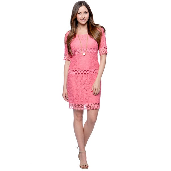 Jessica Simpson Pink Eyelet Pattern Peasant Dress