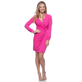 Jessica Simpson Women's Pink Long-sleeve Faux Wrap Dress