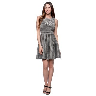 Jessica Simpson Black and White Space-dyed Fit and Flare Dress