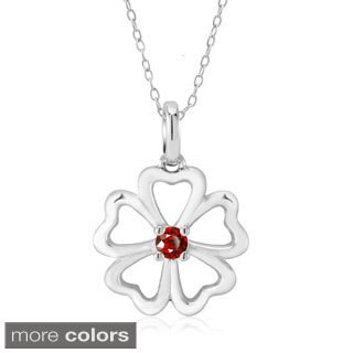 Sterling Silver Heart Clover Cubic Zirconia Birthstone Necklace