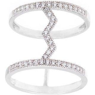 La Preciosa Sterling Silver CZ Heartbeat Double Row Ring