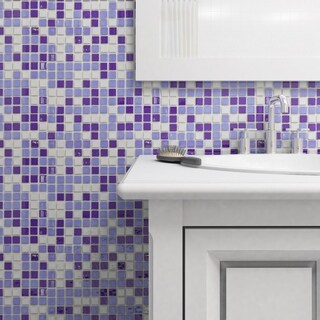 SomerTile 13x13-inch Guadiana Square Agua Marina Glass Mosaic Tile (Case of 18)