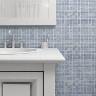 SomerTile 13x13-inch Guadiana Square Blue Pearl Glass Mosaic Tile (Case of 18)