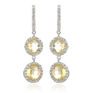 Rhodium-plated Stainless Steel White and Canary Cubic Zircona Double Decker Earrings