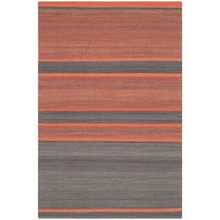 Safavieh Hand-Woven Kilim Dark Grey/ Orange Wool Rug (4' x 6')