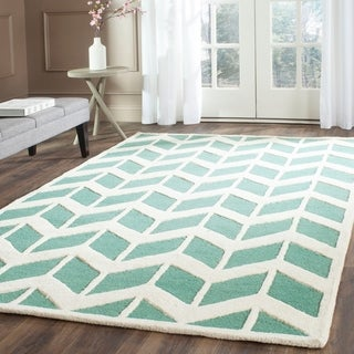 Safavieh Handmade Moroccan Cambridge Teal/ Ivory Wool Rug (5' x 8')