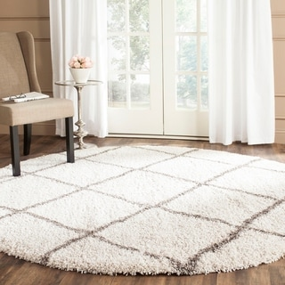 Safavieh Hudson Diamond Shag Ivory Background and Grey Rug (7' Round)