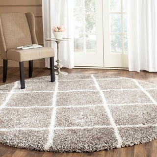 Safavieh Hudson Diamond Shag Grey Background and Ivory Rug (7' Round)