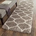 Safavieh Hudson Ogee Shag Grey Background and Ivory Rug (2'3 x 8')
