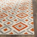Safavieh Hand-woven Dhurries Ivory/ Tangerine Wool Rug (6' Square)