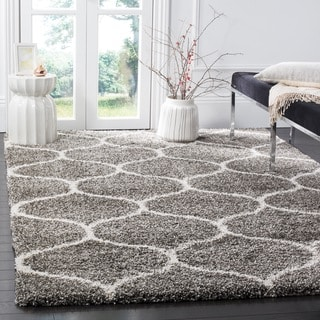 Safavieh Hudson Ogee Shag Grey Background and Ivory Rug (7' Square)