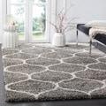 Safavieh Hudson Ogee Shag Grey Background and Ivory Rug (7' Square)