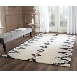 Safavieh Hand-Tufted Soho Ivory/ Dark Grey Wool/ Viscose Rug (7'6 x 9'6)