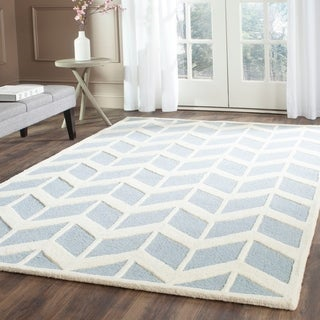 Safavieh Handmade Moroccan Cambridge Blue/ Ivory Wool Rug (9' x 12')