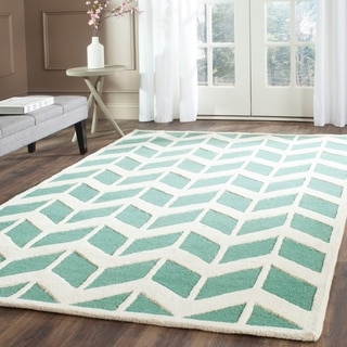 Safavieh Handmade Moroccan Cambridge Teal/ Ivory Wool Rug (9' x 12')