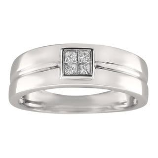 14k White Gold Men's 1/4ct TDW Princess-cut Diamond Wedding Band (G-H, SI1-SI2)