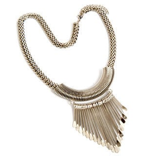 Hand-crafted Antiqued Silvertone Rod Necklace (India)
