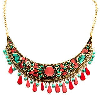 Handcrafted Antiqued Crescent Necklace (India)
