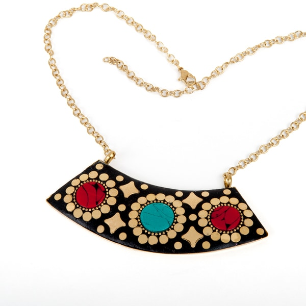 Hand-crafted Brass Antique-style Necklace (India)