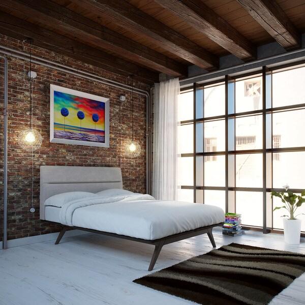 Addison Queen Size Black/ Grey Platform Bed Frame