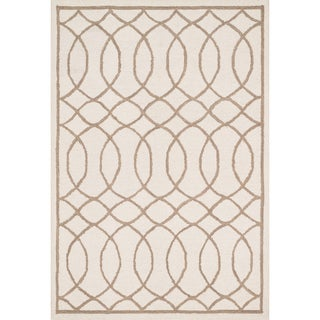 Hand-hooked Hannah Ivory/ Taupe Rug (7'6 x 9'6)
