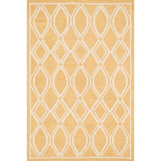 Hand-hooked Hannah Gold/ Ivory Rug (5'0 x 7'6)