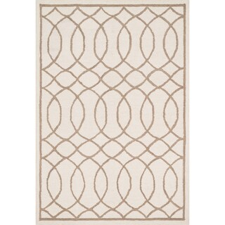 Hand-hooked Hannah Ivory/ Taupe Rug (5'0 x 7'6)