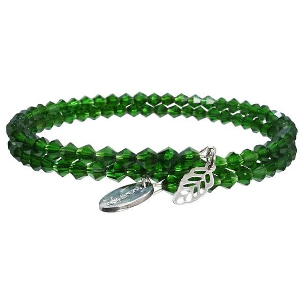 Pink Box Under the Sea Green Wrap Around Bicone Bracelet with Leaf Charm