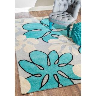 nuLOOM Handmade Modern Floral Teal Wool Rug (3' x 5')