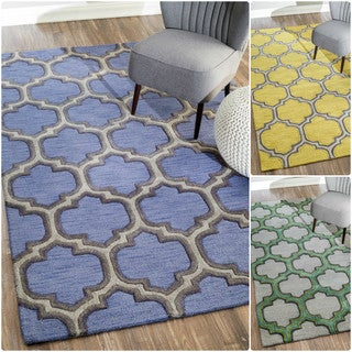 nuLOOM Handmade Modern Geometric Lattice Wool Rug (8'6 x 11'6)
