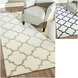 nuLOOM Handmade Wool/ Silk Trellis Rug (8'6 x 11'6)
