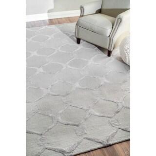 nuLOOM Handmade Modern Wool/ Viscose Grey Trellis Rug (8'6 x 11'6)