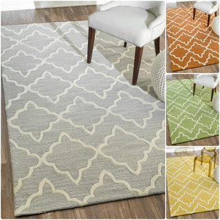 nuLOOM Handmade Modern Lattice Wool Rug (7'6 x 9'6)