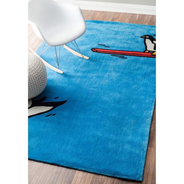 nuLOOM Handmade Penguin Jump Modern Blue Rug (5' x 8')