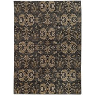 Oriental Weavers Heritage Arbrush Ikat Blue/ Gold Rug (7'10 X 10'10)