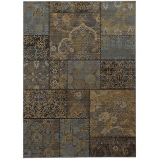 Heritage Patchwork Charcoal/ Blue Rug (7'10 X 10'10)