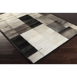 Papilio Handmade Terry Animal Black Leather Strap Rug (4' x 6')