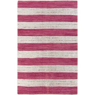 Papilio Hand-woven Tomas Pink Striped Cotton Rug (2' x 3')