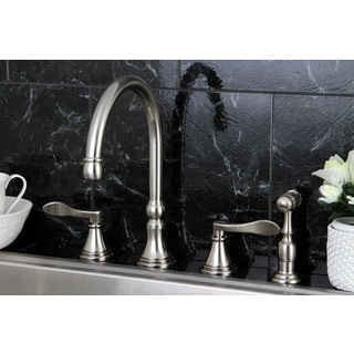 Modern Widespread Satin Nickel Kitchen Faucet with Side Sprayer