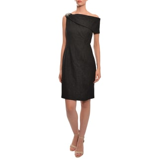 Kay Unger Black Textured Asymmetric One Shoulder Cocktail Evening Dress