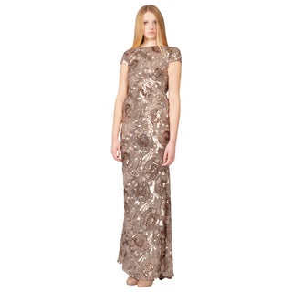 Badgley Mischka Rose Gold Floral Sequin Cowl Draped Back Evening Gown Dress