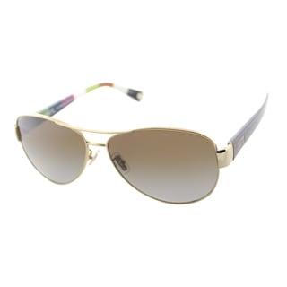 Coach Women's Kristina Gold/ Tortoise Aviator Sunglasses