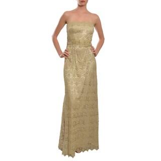 Teri Jon by Rickie Freeman Strapless Metallic Gold Lace Evening Gown Dress