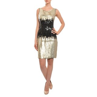 Naeem Khan Black Gold Fully Sequins Fitted Sheath Cocktail Evening Dress