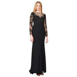 ML Monique Lhuillier Black Embroidered Tulle Mermaid Evening Gown Dress
