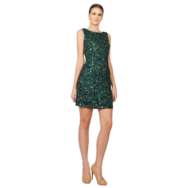 Aidan by Aidan Mattox Glitzy Fully Sequins Green Sleeveless Cocktail Dress